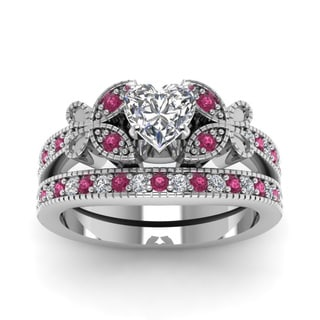 Fascinating Diamonds 14k White Gold 7/8ct TDW Heart-cut Diamond and Pink Sapphire Bridal Ring Set (G-H, SI1-SI2)