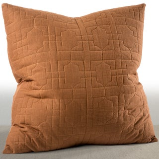 Riviera Cognac Embroidered Cotton Euro Sham