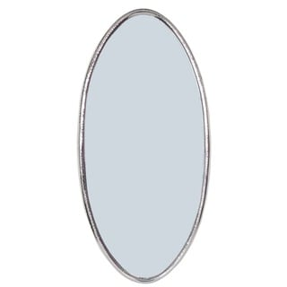 Ella Elegant Hammered Silver Metal Oval Wall Mirror