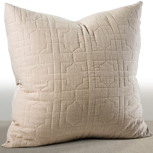 Riviera Sand Beige Embroidered Cotton Euro Sham