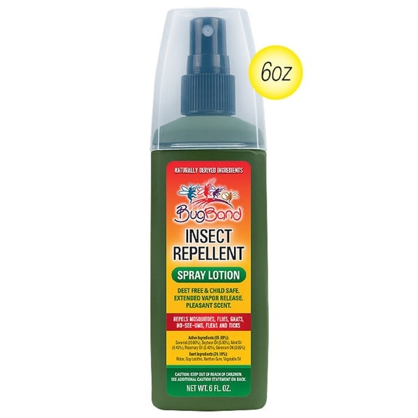 BugBand Deet-Free Insect Repellent Pump Spray Bottle 6 Ounce