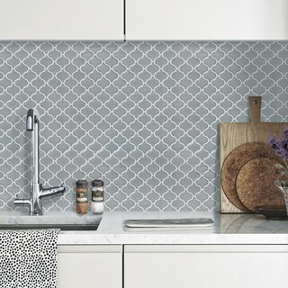 BeausTile Grigio 4-piece Decorative Adhesive Faux Tile Sheets (12.2 in x 12.2 in)