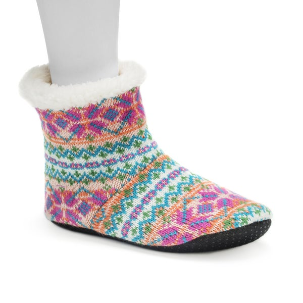 Muk Luks Women's Pastel Orange Bootie Slippers