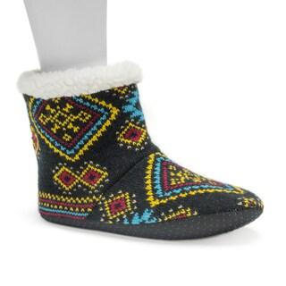 Muk Luks Women's Dark Blue Pattern Bootie Slippers