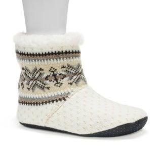 Muk Luks Women's Vanilla Pattern Bootie Slippers
