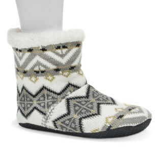 Muk Luks Women's Dark Grey Pattern Bootie Slippers