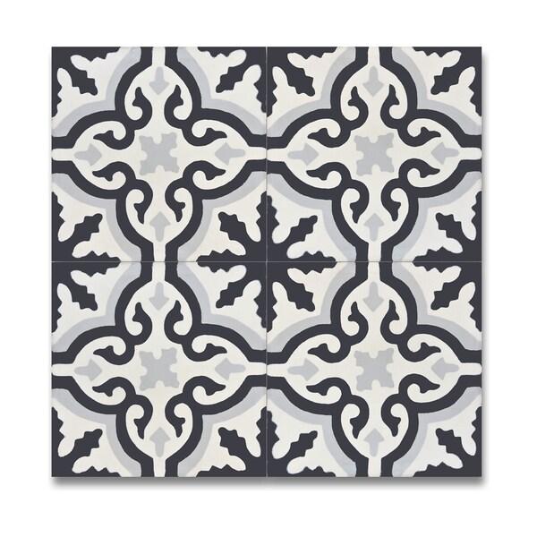 Pack Of 12 Argana Black And Grey Handmade Cement Granite