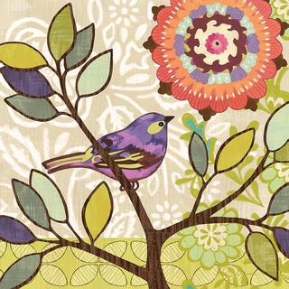 Portfolio Canvas Decor Jennifer Brinley 'Bird Bliss Purple' Framed Canvas Wall Art (Set of 2)