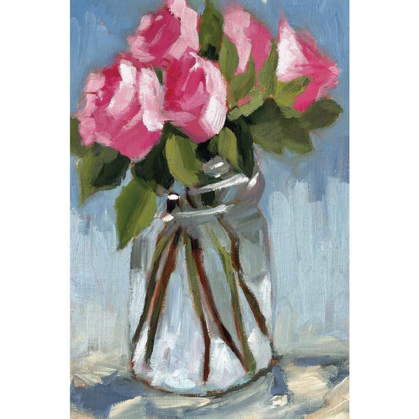 Azra Iqbal 'Pink Roses in Jar' Framed Canvas Wall Art
