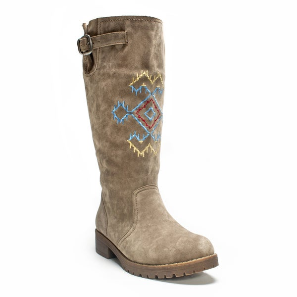 Muk Luks Women's Medium Beige Barbie Boot (As Is Item)