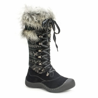Muk Luks Women's Gwen Tall Lace Up Black Snow Boot