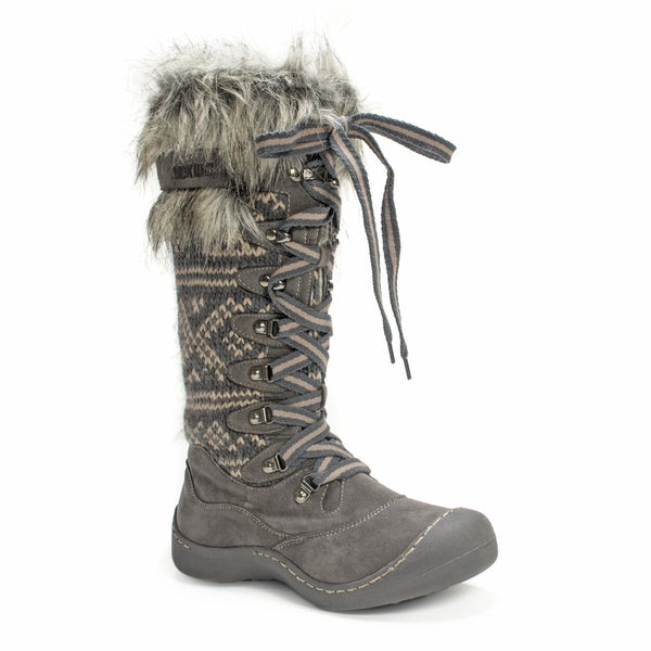 Muk Luks Women's Gwen Tall Lace Up Grey Snow Boot