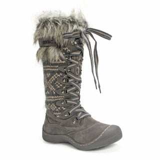 Muk Luks Women's Gwen Tall Lace Up Grey Snow Boot