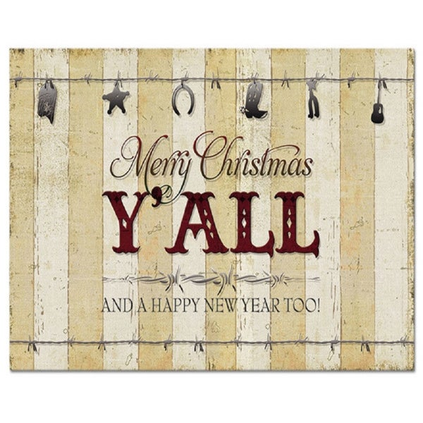 'Merry Christmas Y'All' Disposal Placemats (Set of 12)