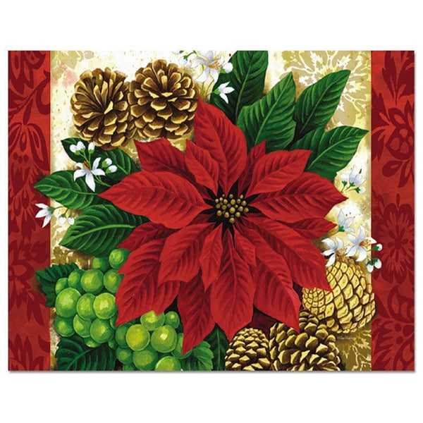 Poinsettia and Pine Cone Paper Placemats