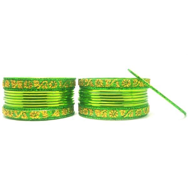 Light Green with Golden Glitter Metal Bangle Set