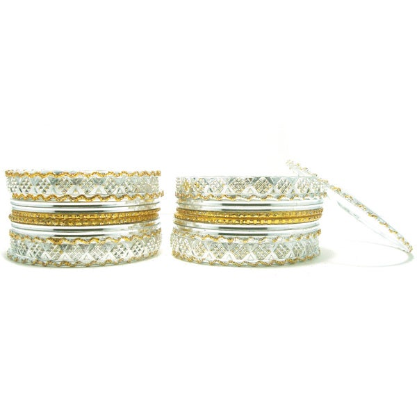 Silver Metallic Bangle Set