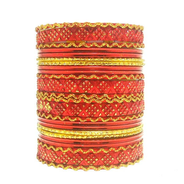 Red and Golden Glitter Bangle Set