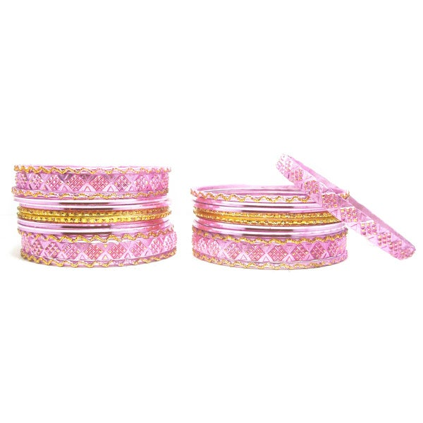 Pink and Golden Metal Bangles