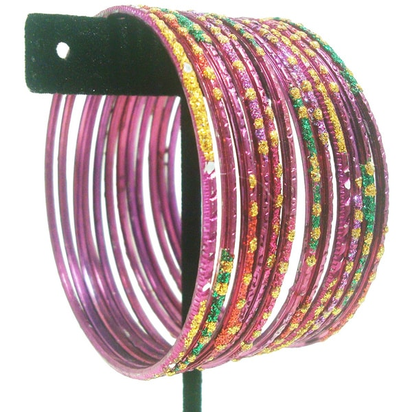 Metallic Multi-colored Glitter Bangles