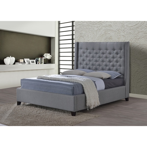 luxeo huntington king tufted grey fabric upholstered bed overstock