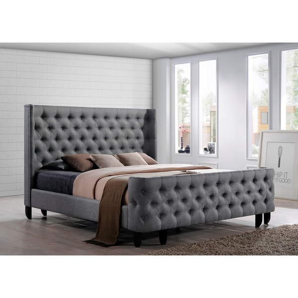 Luxeo Malibu King Tufted Grey Fabric Upholstered Bed Free Shipping