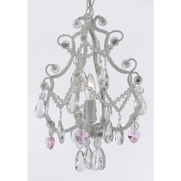 Wrought Iron Crystal One Light Chandelier Pendant White With Pink Crystal Hearts Free Shipping