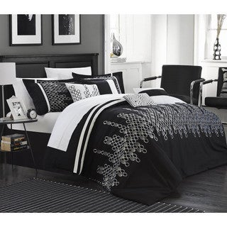 Chic Home Oversized Overfilled Laurie Embroidered 8-piece Comforter Set