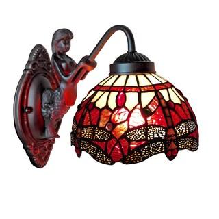 Amora Lighting Tiffany Style Dragonfly Wall Sconce