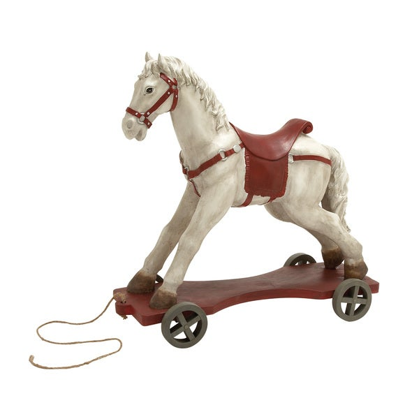 27-inch Off-white Horse On Wheels Decor