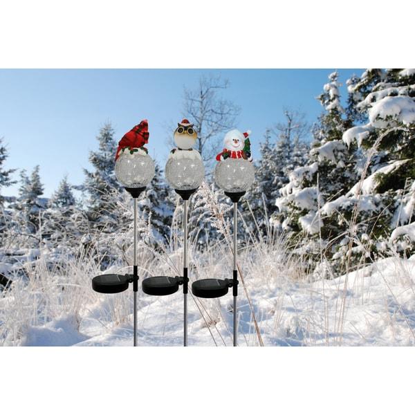 Solar Cardinal, Snowman, Owl Globe Garden Stakes (Set of 16)