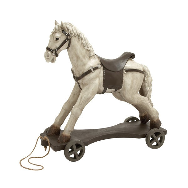 27-inch Brown Horse On Wheels Decor