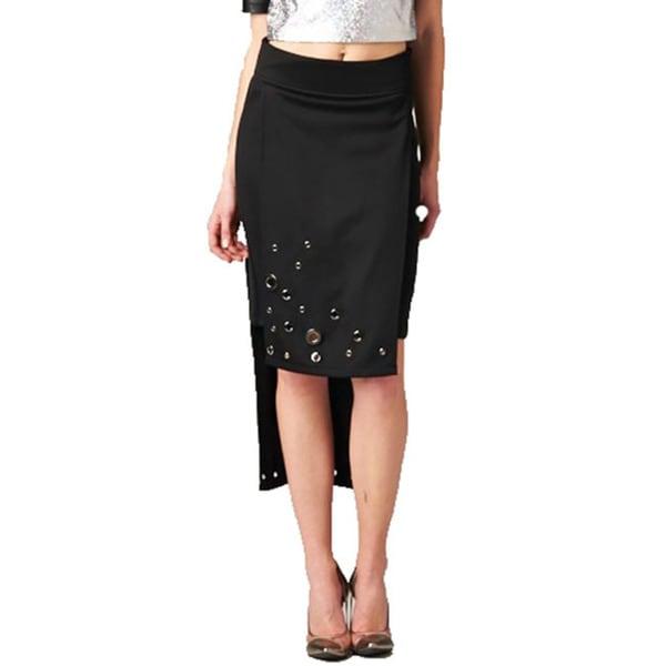 TOV Women's Black High Low Skirt