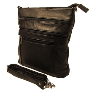 Continental Leather Crossbody Handbag with Adjustable Shoulder Strap and Tablet/ iPad Sized Compartments