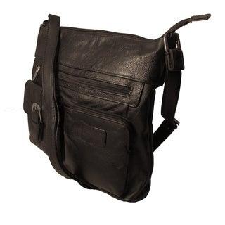 Continental Leather Large Black Crossbody Handbag with Adjustable Shoulder Strap