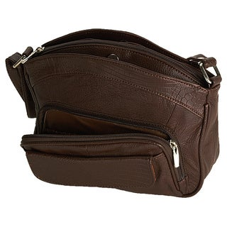 Continental Leather Large Crossbody Shoulder Bag with Adjustable Shoulder Strap and Built-in Credit Card Spaces