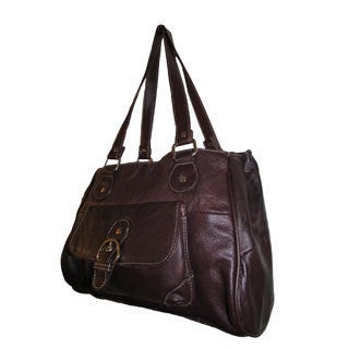 Continental Leather Shoulder Bag with Three Main Compartments and Front-side Smartphone-size Pocket