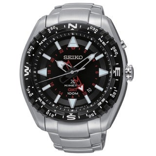 Seiko Men's SUN049 Stainless Steel Kinetic GMT Watch