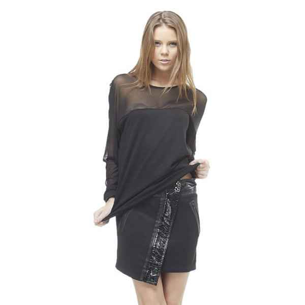 TOV Women's Black Sheer Top