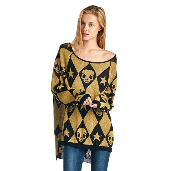 TOV Women's Gold and Black Skull Sweater