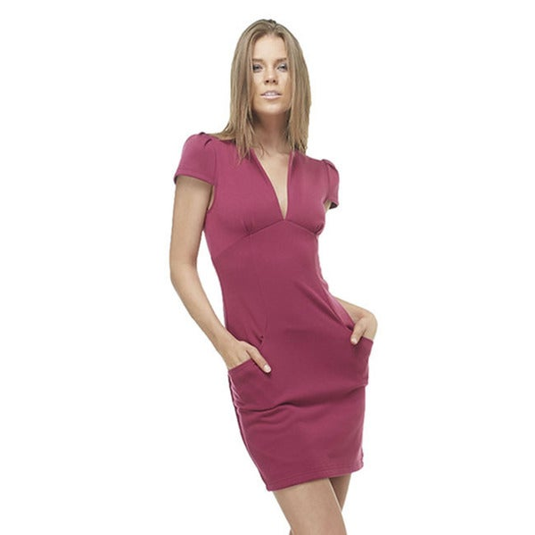 TOV Women's Magenta 'Shift this Way' V-neck Dress