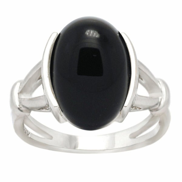 De Buman Sterling Silver Black Agate or Red Agate Ring