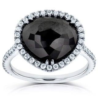 Annello 14k White Gold 5 3/4ct TDW Pear Shape Black and White Diamond Ring (G-H, I1-I2)