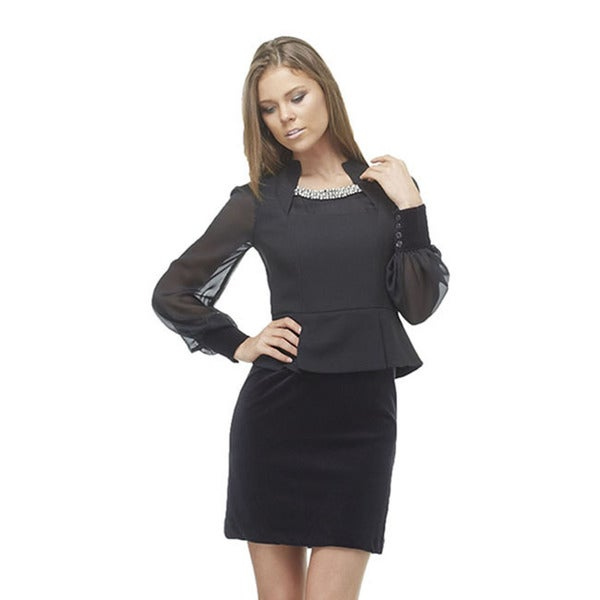 TOV Women's Black Beaded Mini Dress