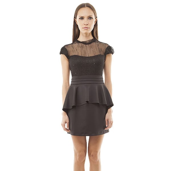 TOV Women's Black Mesh Peplum Dress