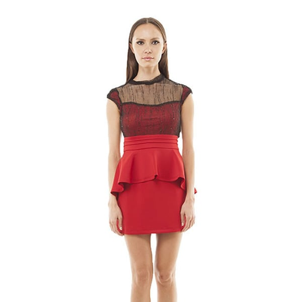 TOV Women's Red Mesh Peplum Dress