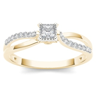 De Couer 10k Yellow Gold 1/4ct TDW Diamond Split-Shank Engagement Ring (H-I, I2)