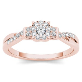 De Couer 10k Rose Gold 1/4ct TDW Diamond Three-Stone look Engagement Ring (H-I, I2)