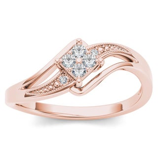 De Couer 10k Rose Gold 1/10ct TDW Diamond Bypass Engagement Ring (H-I, I2)