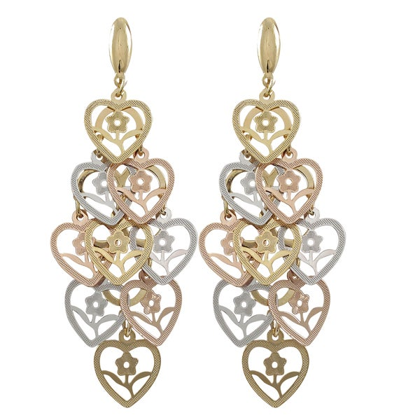 Tri-color Gold Finish Flower Cutout Hearts Chandelier Dangle Earrings